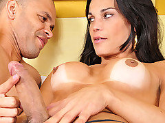Big dick tranny Amanda Bergman is in action, today she was in the mood to top and guy and that she did. She feeds him her throbbing hard cock in his mouth and ass before she unloads a huge messy load on his chest. She totally wrecks his tight ass in this hardcore update.