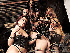 The dark Mistresses Avilla, Jackeline, Joy, Nicolly are at it again in their dungeon of pain. They have this guy in an interesting version of a stock. They keep him restrained as they fuck his mouth with their hard cocks at the same time his ass is being destroyed.