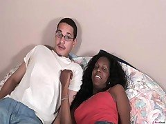 Always on the prowl, Yellow guy met Nia Lee on-line. She asked him to come over and help her move. But she must have changed her plans after seeing how cute he is because once he got there only thing she wanted to pack was his tranny lovin' ass!