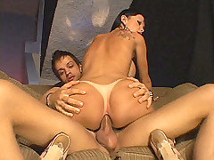 Carla Novaes enjoy dishing out her tight back pussy to guy who are willing to go both ways. Here she hooked up with this shemale cock loving stud and got her share of pleasuring by cramming his mouth with her big juicy dick before she got ass nailed.