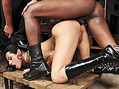 This brand new police woman Bruna gets a suprise as her two inmates escape her grasp and come back to give her a taste of her own medicine. They tie her up quickly and strip the bitch until they can beat, flay and gobble down her shemeat and spread her ass wide open.