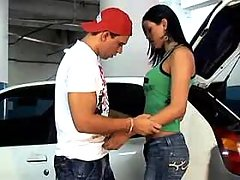 Hot shemale has oral sex on parking