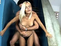 Blonde shemale seduces latino guy