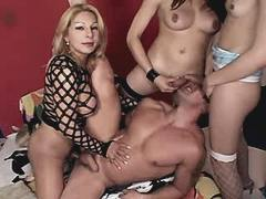 Three shemales fuck guy in hot orgy