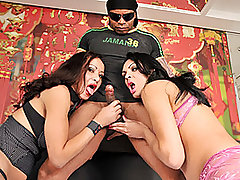 Lucky Latino stud Capoeira is about to tackle two of the hottest Latin shemales ever!  Ana and Bruna are both gorgeous and voluptuous brunette babes; both sluts have got incredible tits, and even bigger dicks!  Their stud stands above them as they crouch at his knees like the submissive ladyboy fuck sluts that they are, simultaneously working their mouths up and down his shaft.  Then the stud pounds them both in their rear ends with a seemingly limitless amount of energy and a rock hard control over when he ejaculates.  The girls also take turns drilling each other in the ass, with some intense three-way positions to be enjoyed as well.