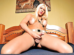 Busty blonde tgirl babe Nicole Valentin is being featured today for the first time. This shemale babe is smoking hot and loves nothing more than getting naughty for the camera. Watch as this tgirl shows off her body and plays with herself until she cums with satisfaction.